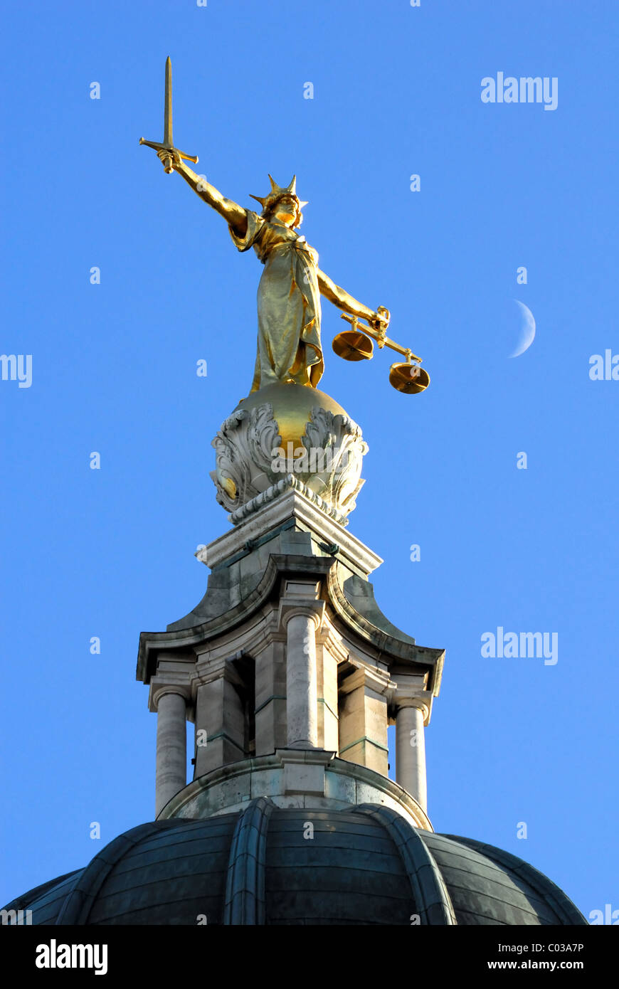 The Old Bailey Scales of Justice statue London UK - Stock Image