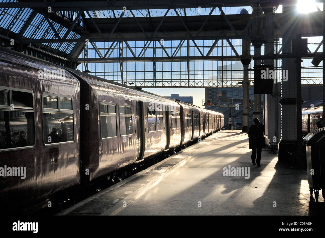 Waterloo Station with train at platform - Stock Image