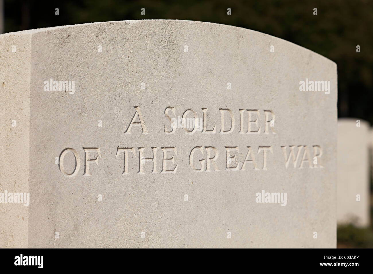 A Soldier of the Great War gravestone First World War cemetery Vimy ridge France - Stock Image