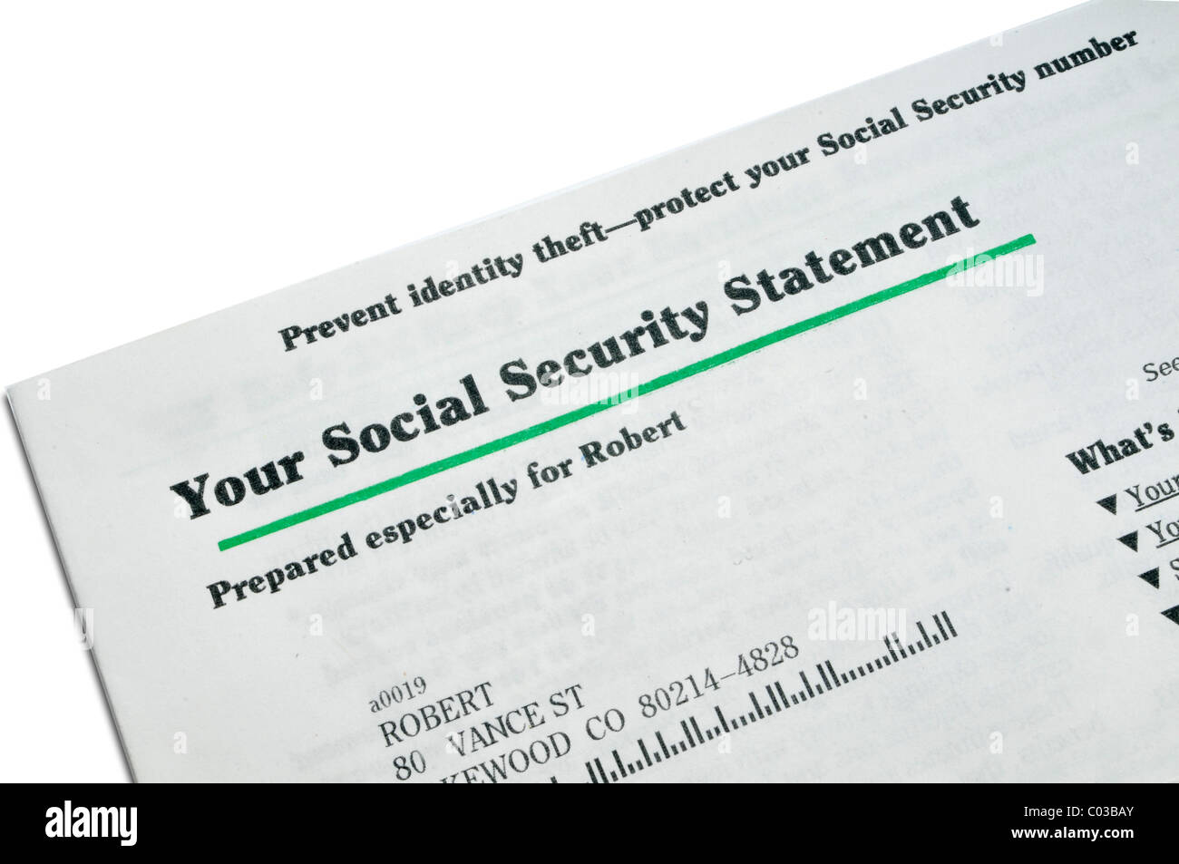 social security document dloct up - Stock Image