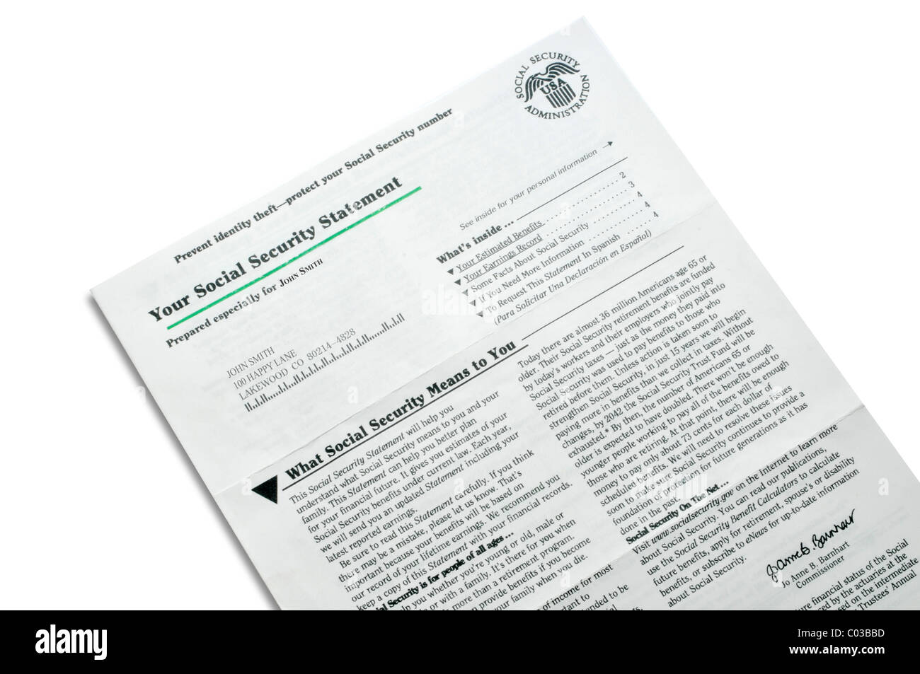 Social security statement stock photo 34495537 alamy social security statement thecheapjerseys Gallery