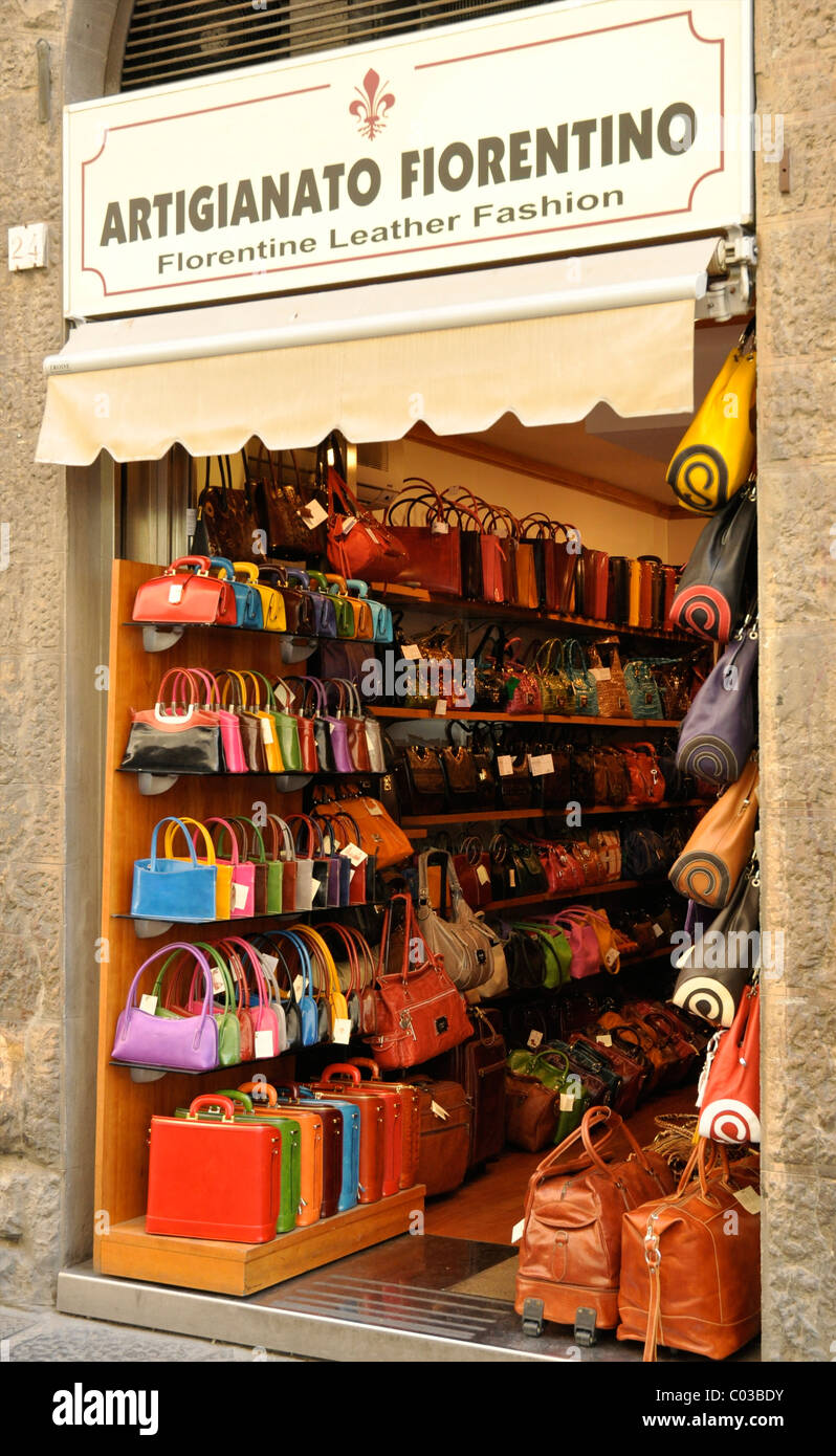Colourful hand bags for sale, Florence, Italy, Europe - Stock Image