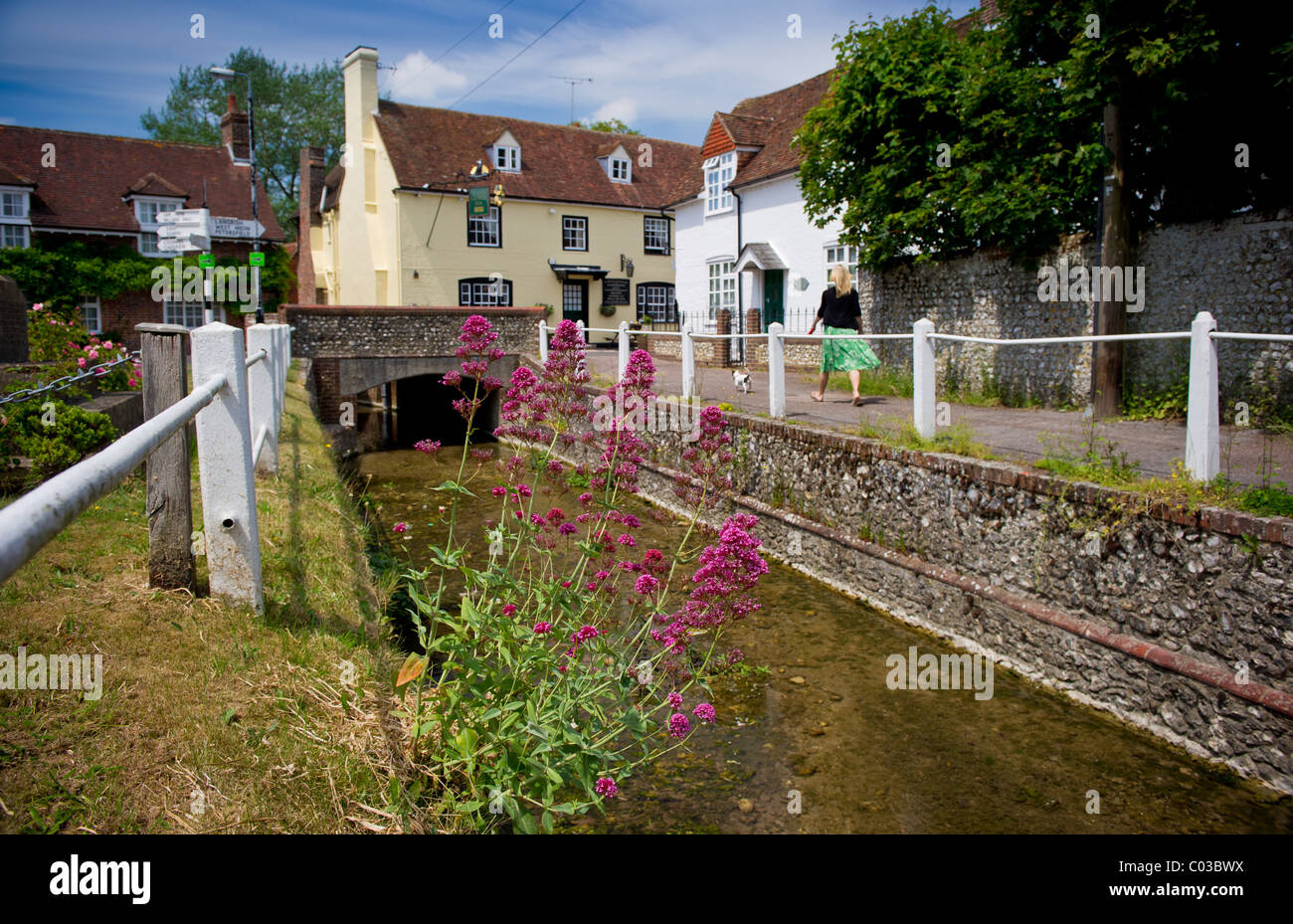 The village of East Meon located in the meon Valley Hampshire , pictured at the top of the Meon river is the Ye - Stock Image