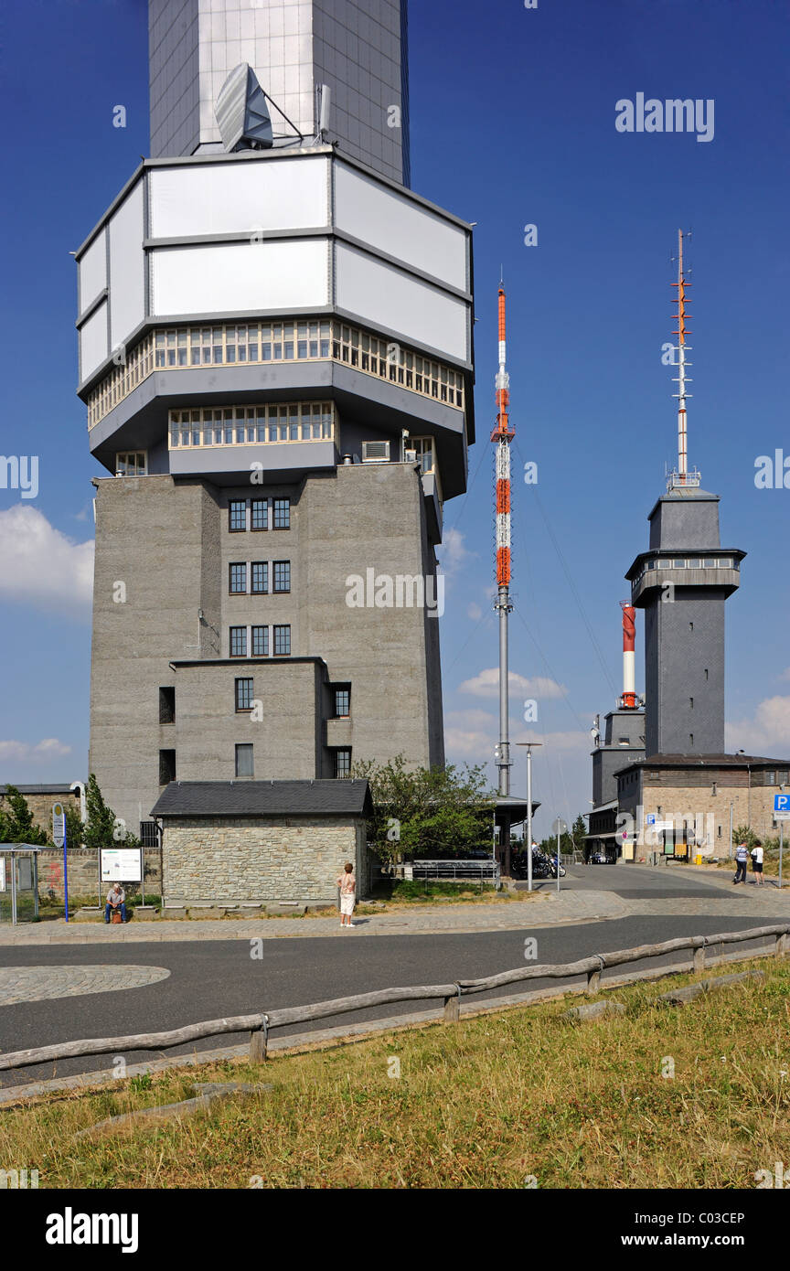 Observation tower and transmitters, Grosser Feldberg mountain, Schmitten, Hesse, Germany, Europe Stock Photo