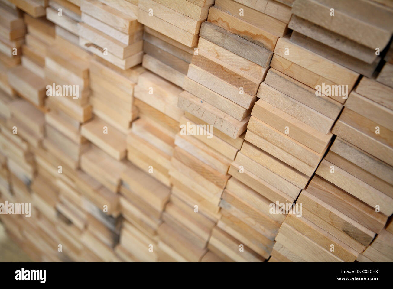 Planks of wood stacked Stock Photo