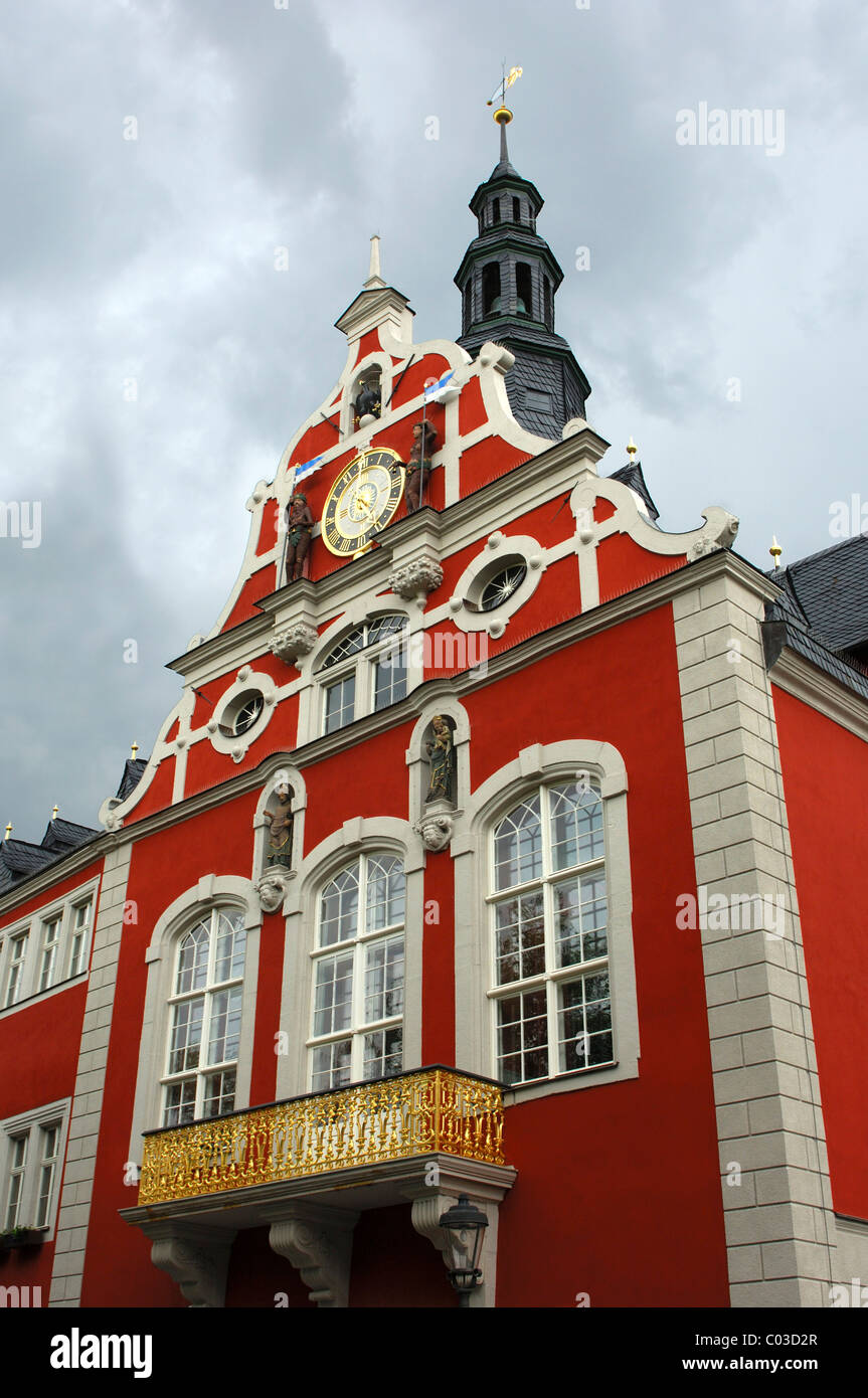 Facade and gable ornaments of the Renaissance town hall in Arnstadt, Thuringia, Germany, Europe Stock Photo