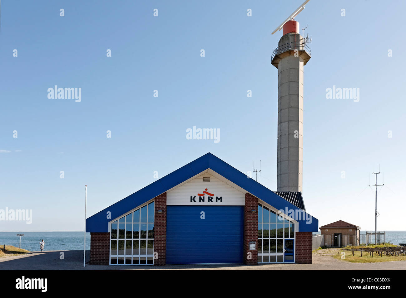 Rescue centre of the Royal Netherlands Lifeboat Institution, KNRM, with a radar tower, , Walcheren peninsula, Zeeland - Stock Image
