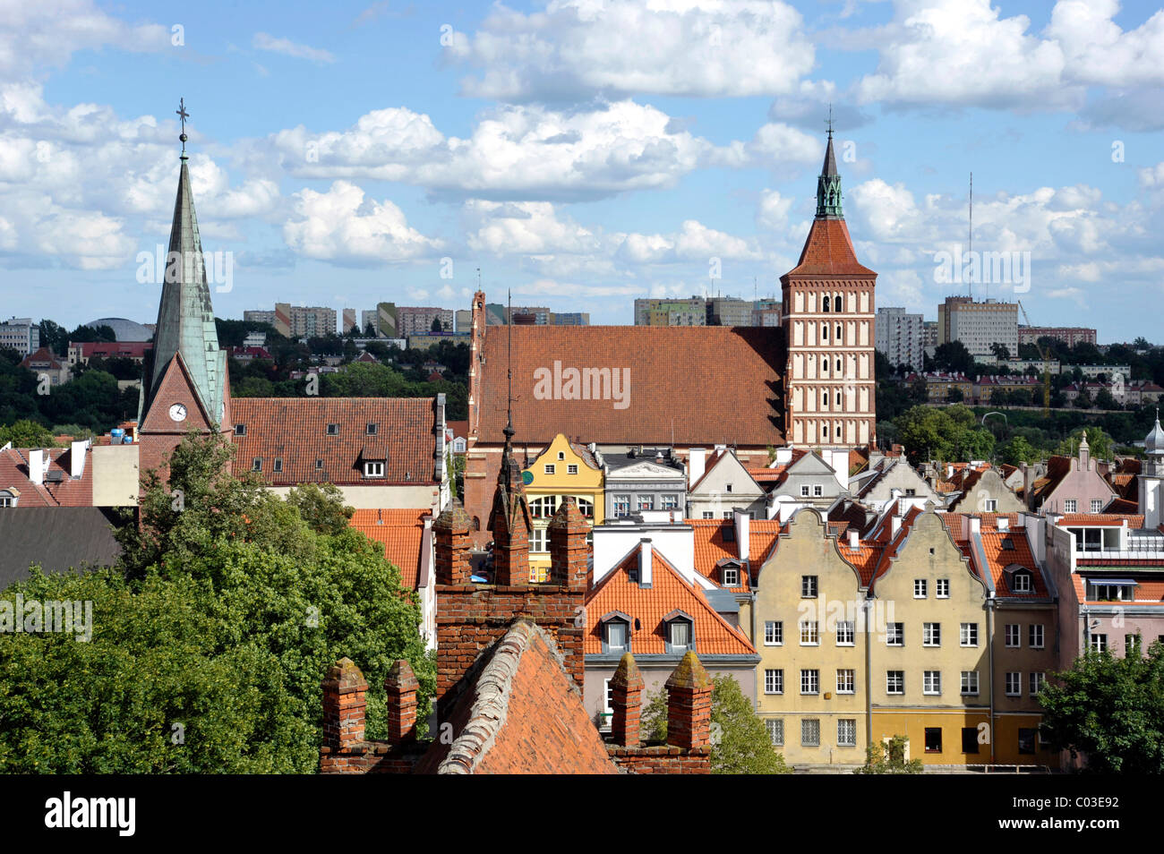 Cathedral and historic town centre, view from Bishop's Castle, Allenstein, Olsztyn, Mazury, Poland, Europe - Stock Image