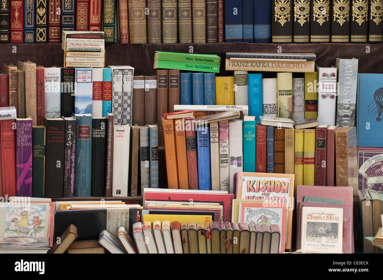 Books, display of bound books in a German antique book store - Stock Image