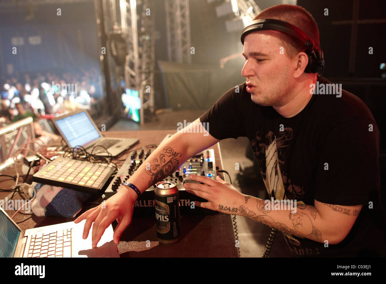 Sven Wittekind, Nature One 2010 electronic music festival, Kastellaun, Rhineland-Palatinate, Germany, Europe - Stock Image