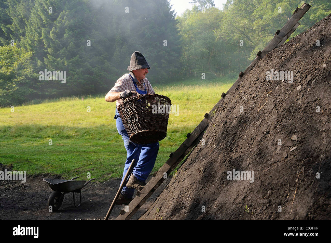 Kohler carrying wood to the shaft of a charcoal kiln, Walpersdorf, Kreis Siegen-Wittgenstein district, North Rhine - Stock Image
