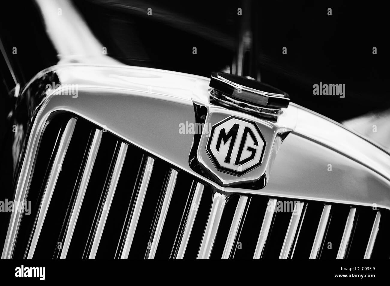 MG TF 1500 classic british car. Monochrome - Stock Image