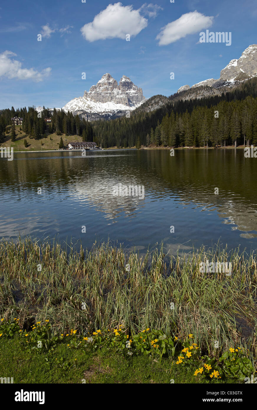 Lago Misurina, Lake Misurina, Three Peaks, South Tyrol, Dolomites, Italy, Europe - Stock Image