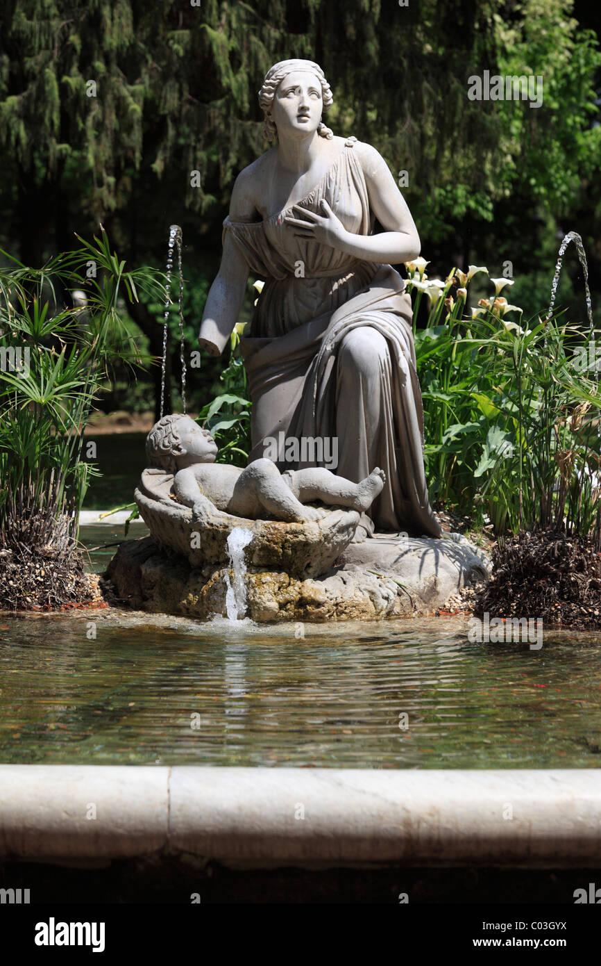 Fountain on Pincian Hill, Monte Pincio, Rome, Italy, Europe - Stock Image