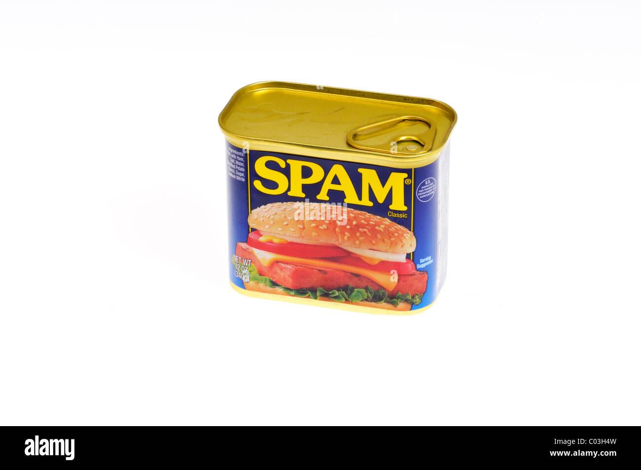 Unopened tin of Hormel Foods  Spam on white background isolated - Stock Image