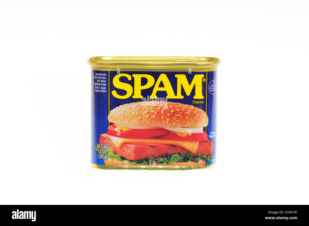 Unopened tin can of Hormel Foods meat product Spam on white background, isolated. USA - Stock Image