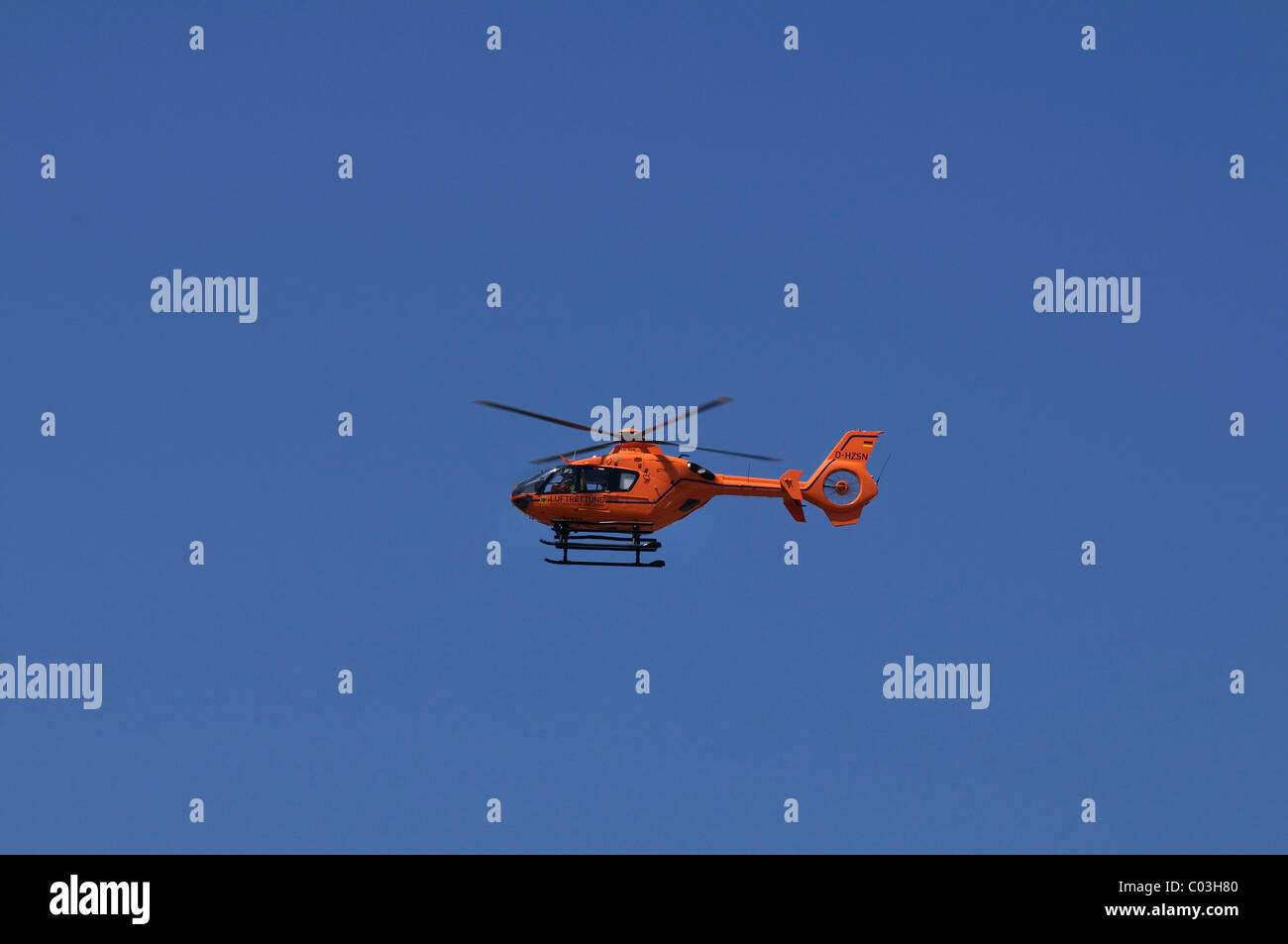 Christoph 9 rescue helicopter in flight, Eurocopter 135, Duisburg, rescue helicopter of the German Ministry of the - Stock Image