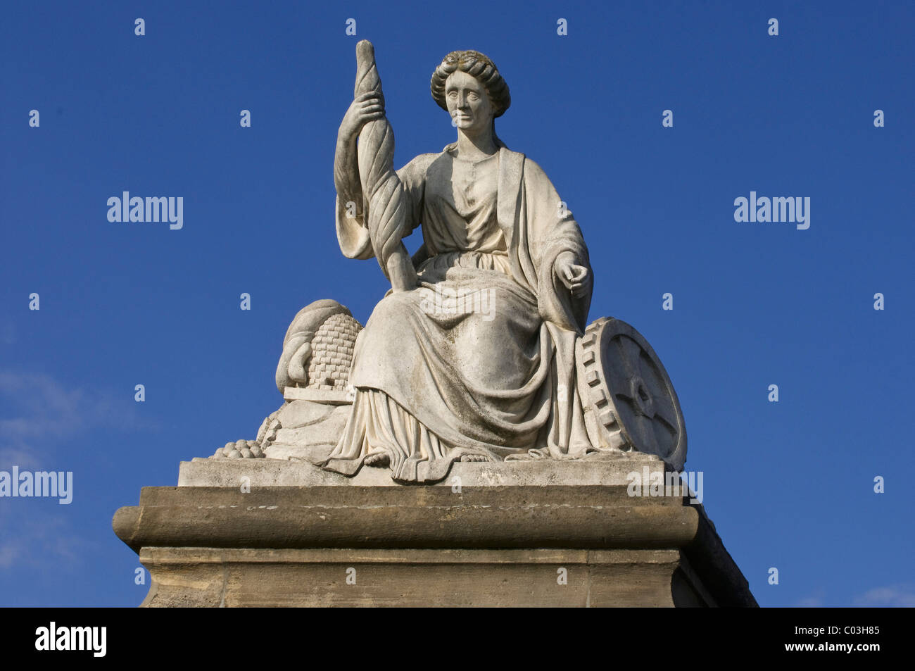 Statue for agriculture and industry, Castle Gate Mainz, Rhineland-Palatinate, Germany, Europe - Stock Image