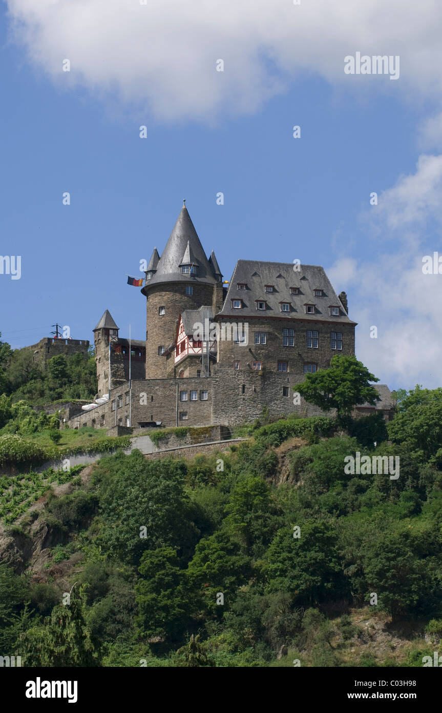 Burg Stahleck Castle, Bacharach, UNESCO World Heritage Cultural Landscape of the Upper Middle Rhine Valley, Rhineland - Stock Image