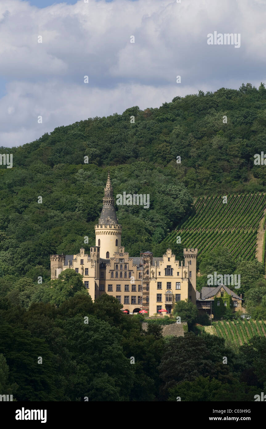 Schloss Arenfels Castle, formerly Arienfels, Bad Hoenningen, Rhineland-Palatinate, Germany, Europe - Stock Image