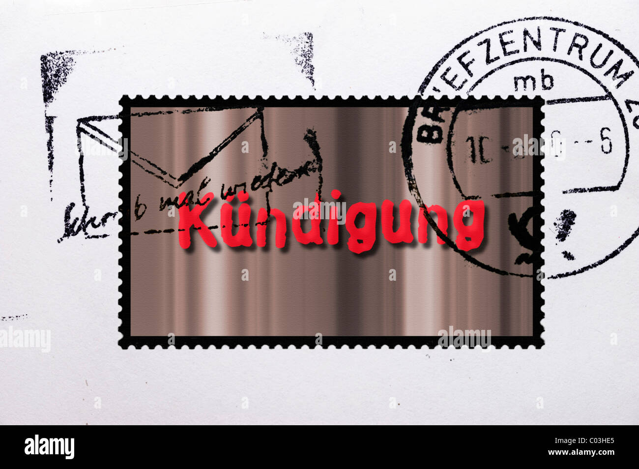 Stamped stamp labelled Kuendigung, German for termination Stock Photo