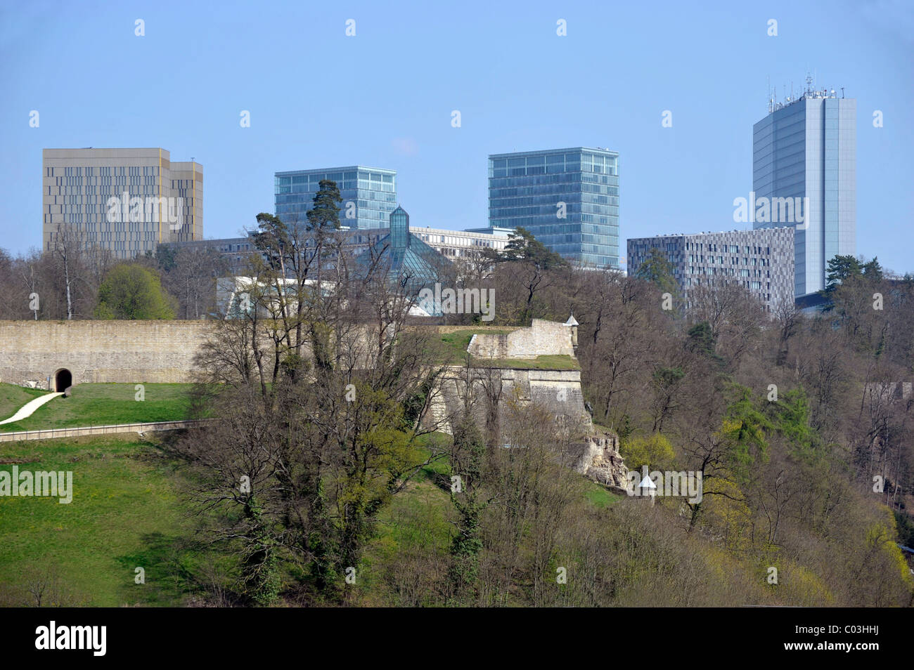 View from Pfaffental district towards Kirchberg district with administrative buildings of the European Union, Luxembourg, - Stock Image