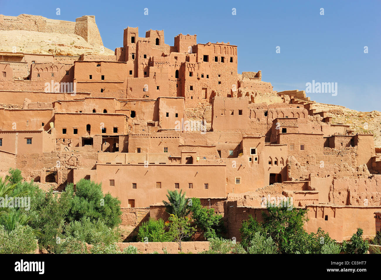 Mud-brick city of Ksar Ait Benhaddou with many Kasbahs, residential castles of the Berbers, built interconnected - Stock Image