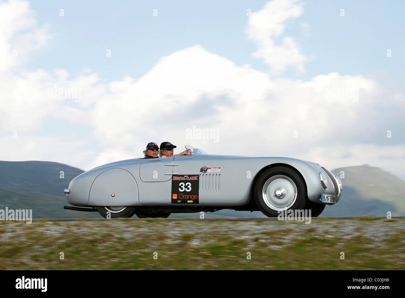 BMW 328 Touring Roadster, built in 1937, Mille Miglia original from the BMW museum, being driven by Prince Leopold - Stock Image