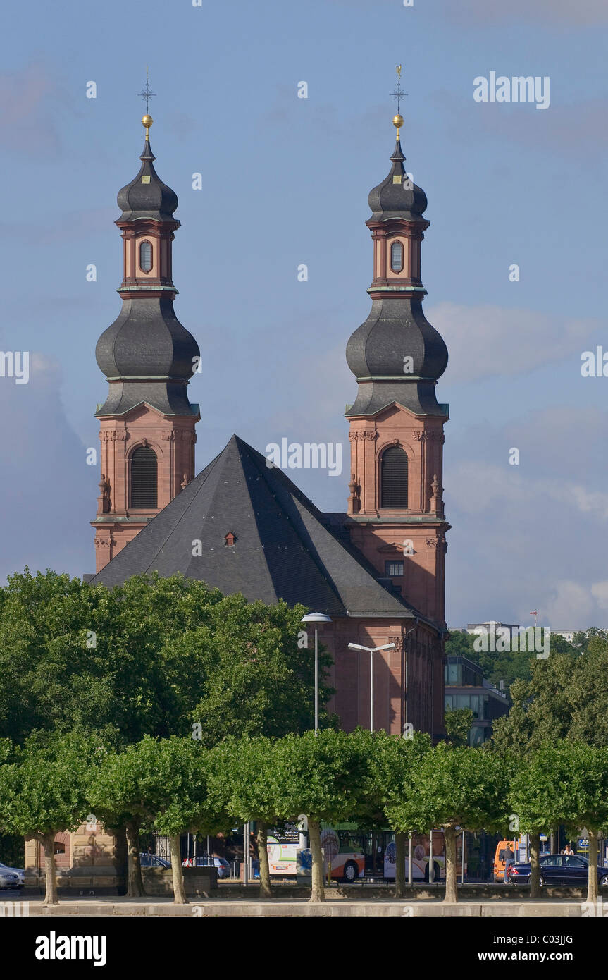 Catholic church of St. Peter, an important Baroque building, formerly a monastery, today a parish church, Mainz - Stock Image