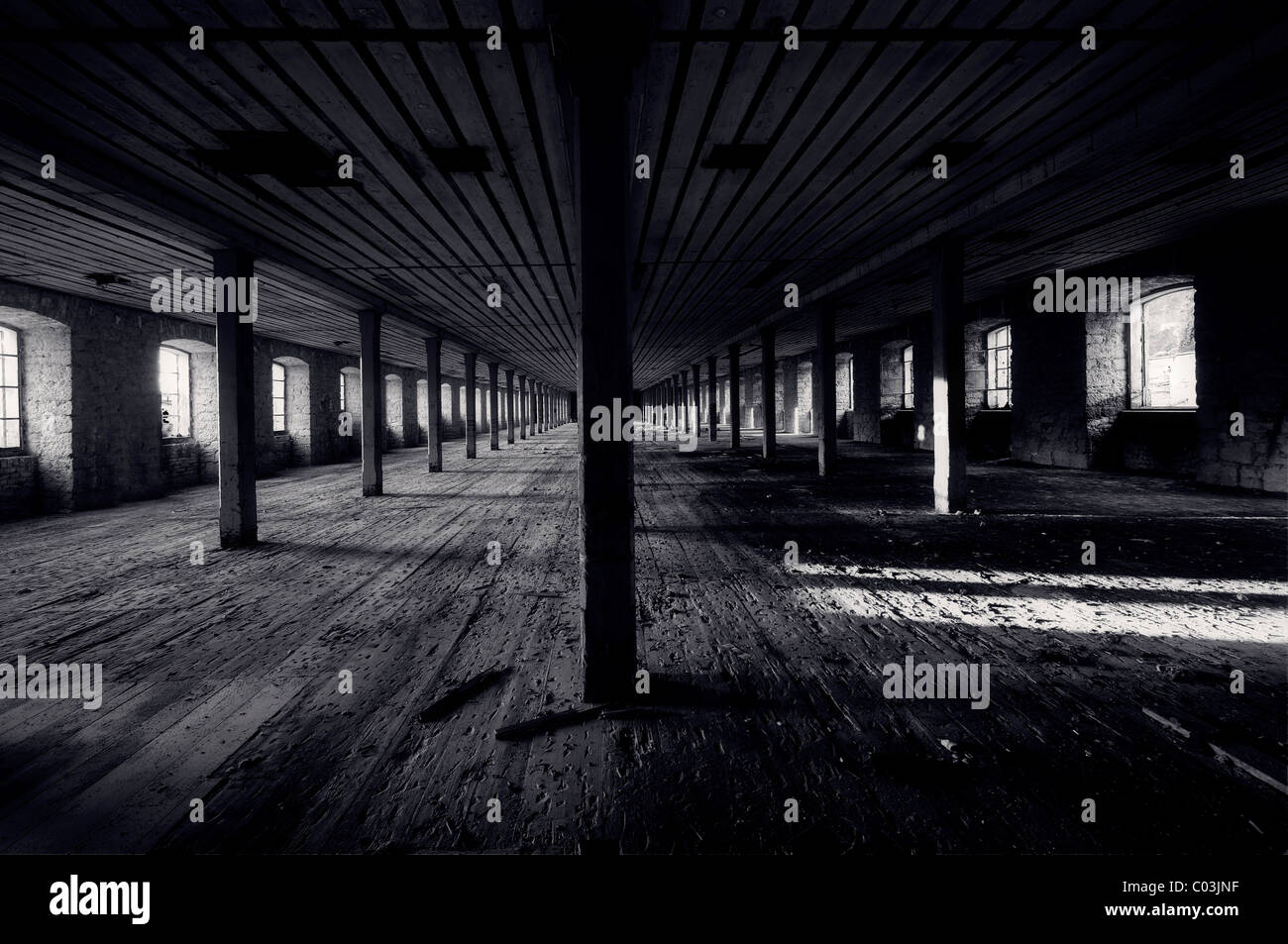 Old attic with rafters, Kempten, Bavaria, Germany, Europe - Stock Image