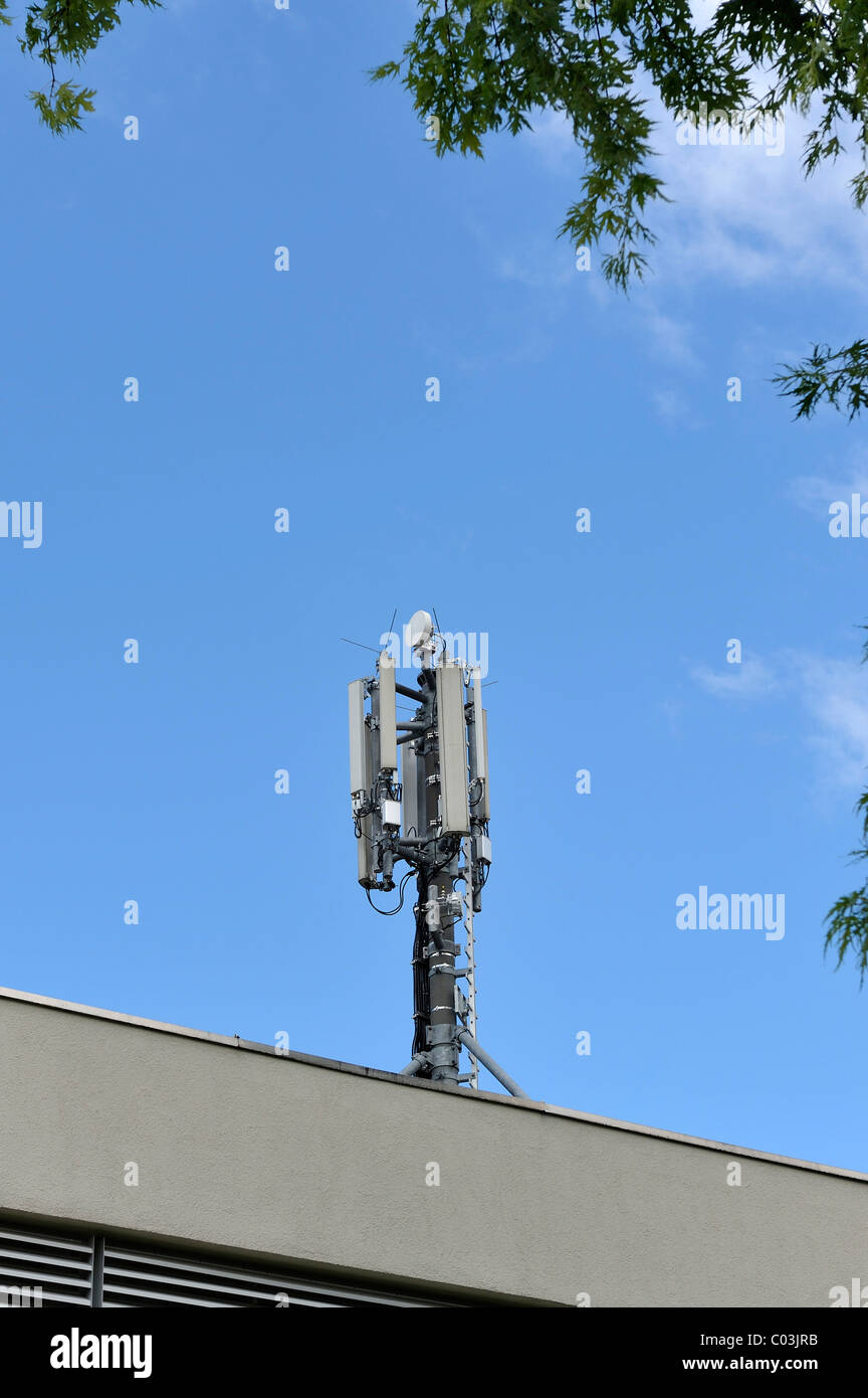Transmitter for mobile telecommunications, Munich, Bavaria, Germany, Europe - Stock Image