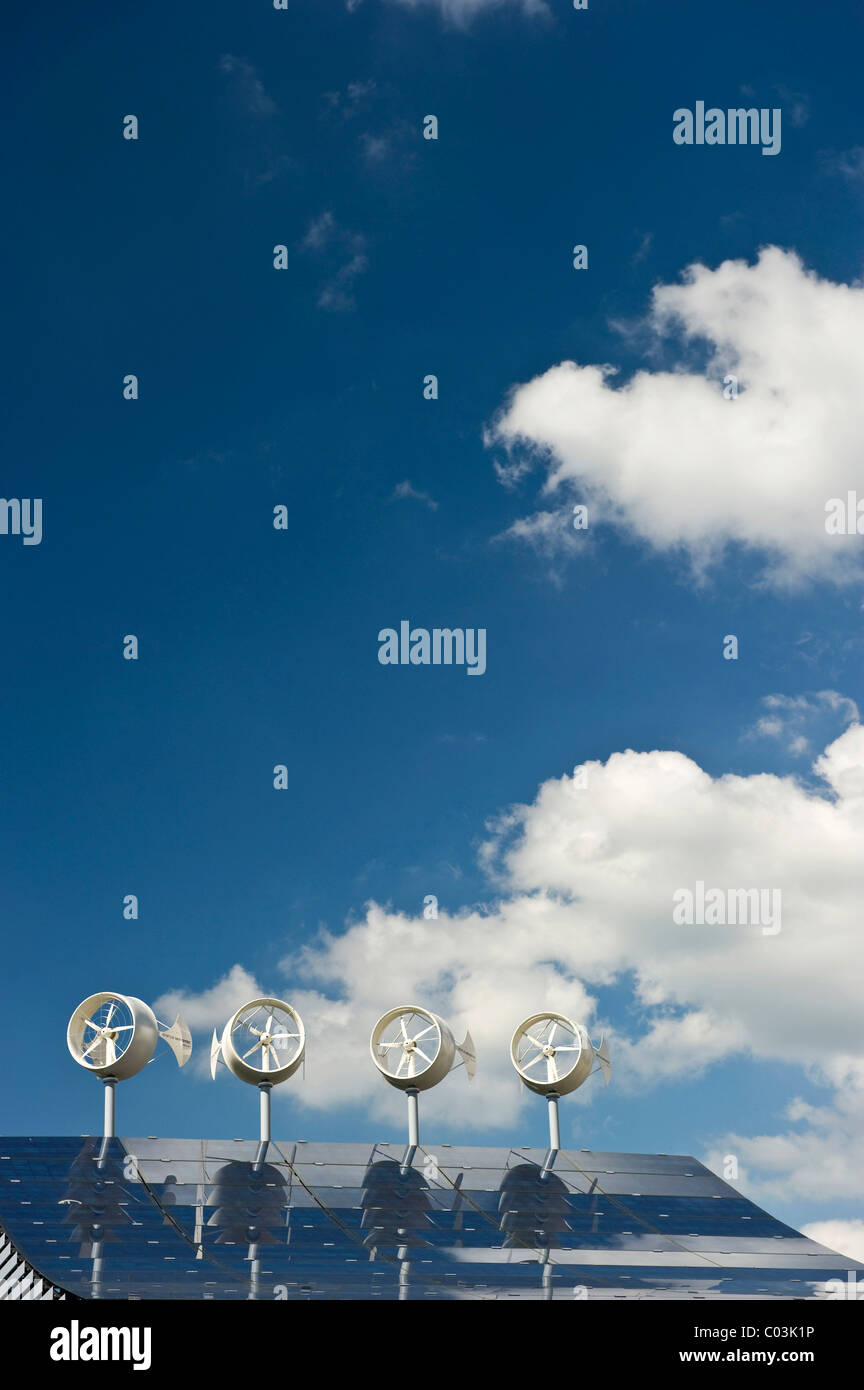 Small wind turbines and solar panels - Stock Image