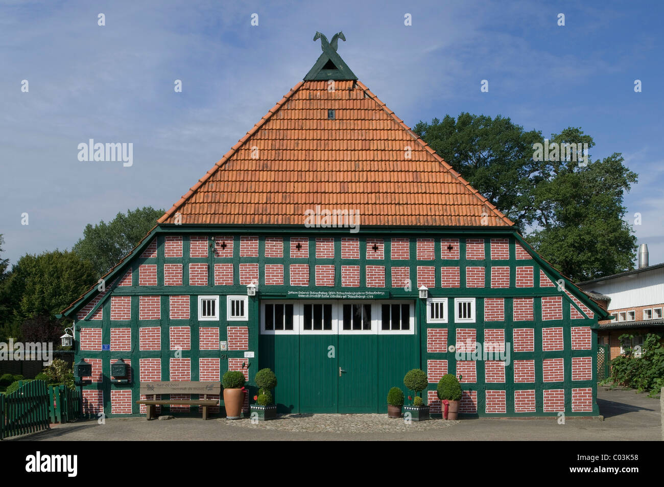 Amtsschreibershof, scribe's building, built in 1793, restored half-timbered building, Wuemme Rothenburg district, - Stock Image
