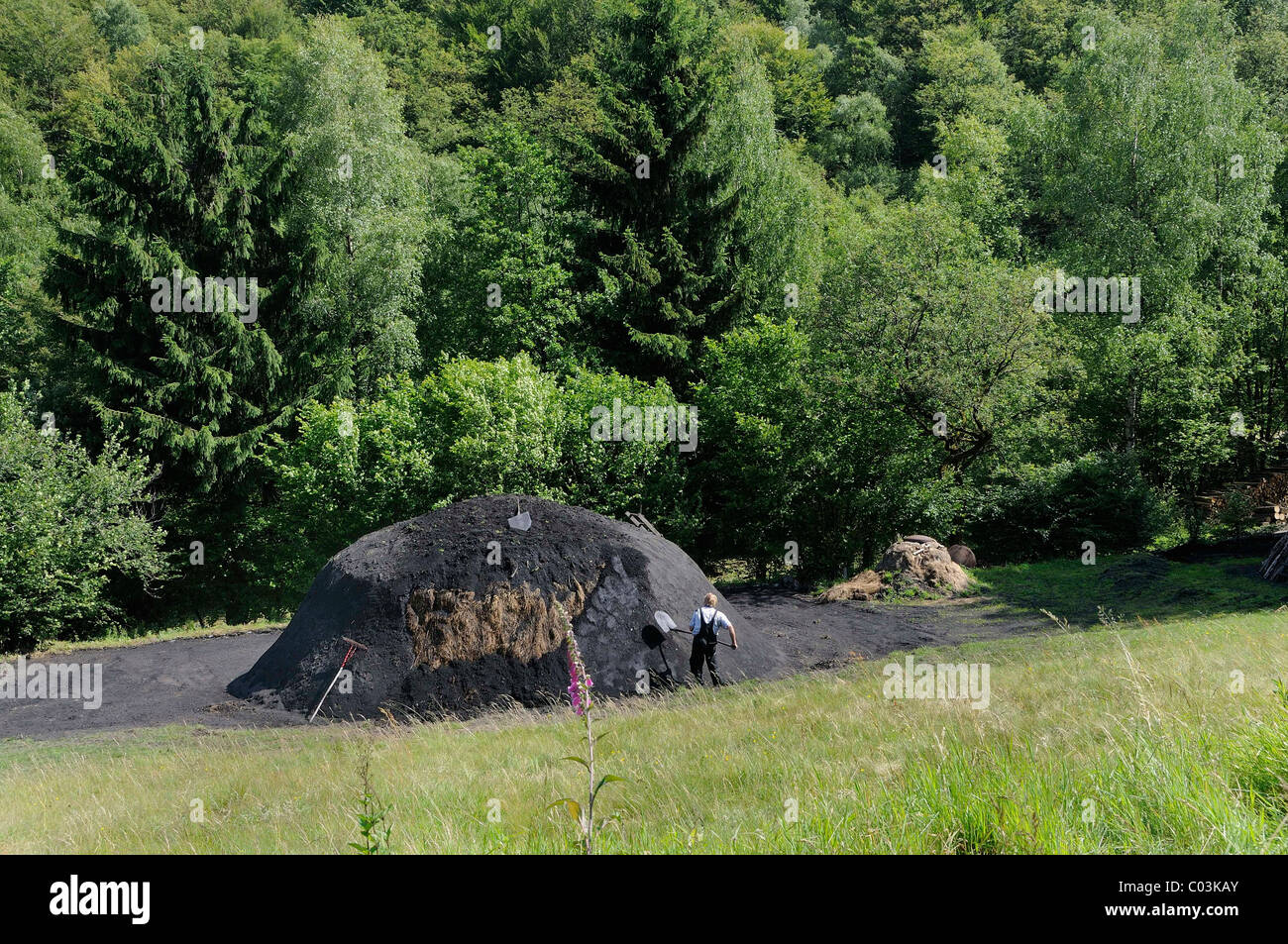 New charcoal kiln is covered with turf and sealed with coal-earth, Walpersdorf, Siegen-Wittgenstein, North Rhine - Stock Image