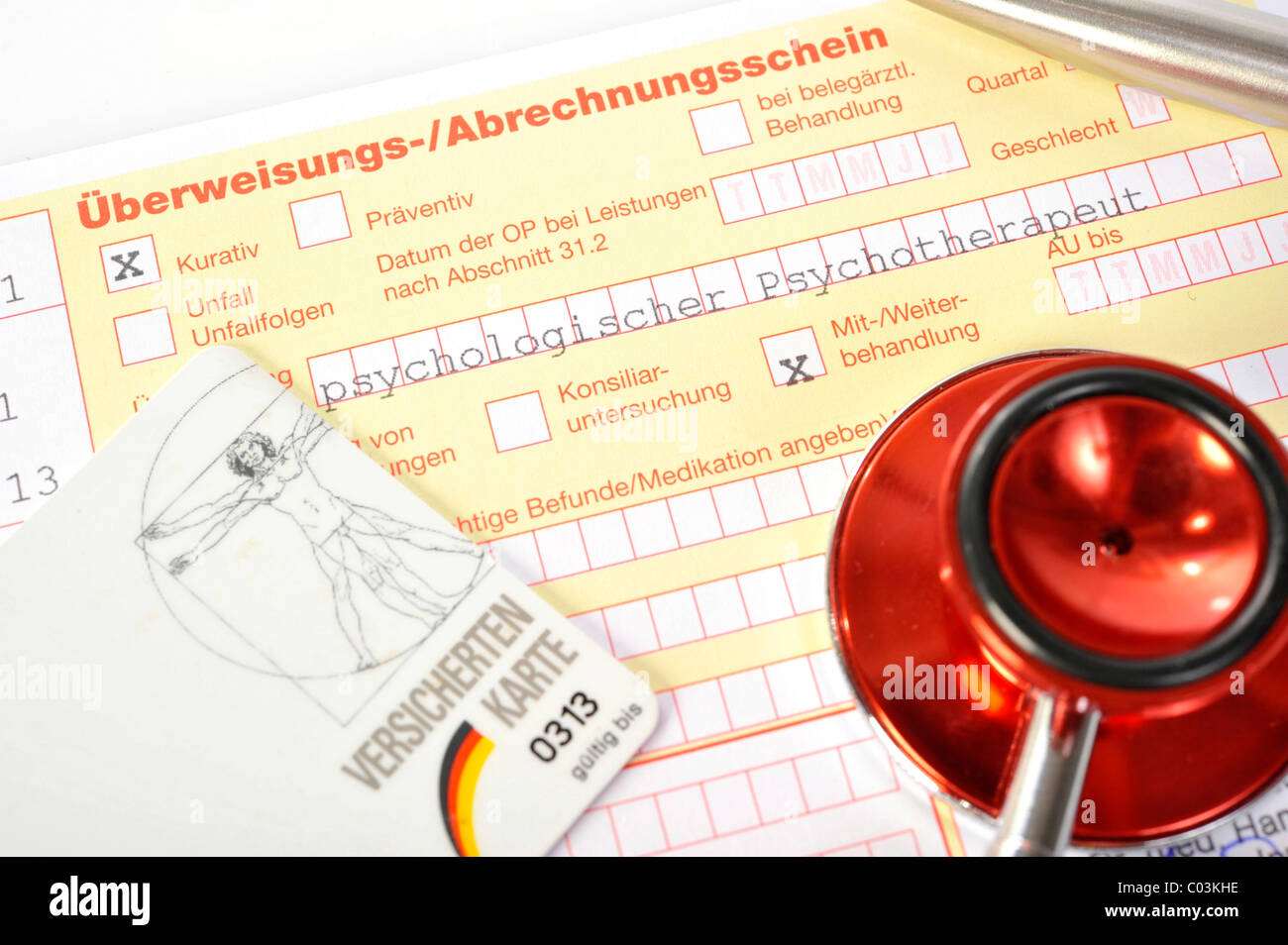 Medical transfer and billing form, transfer to a psychological psychotherapist for co- and subsequent treatment Stock Photo