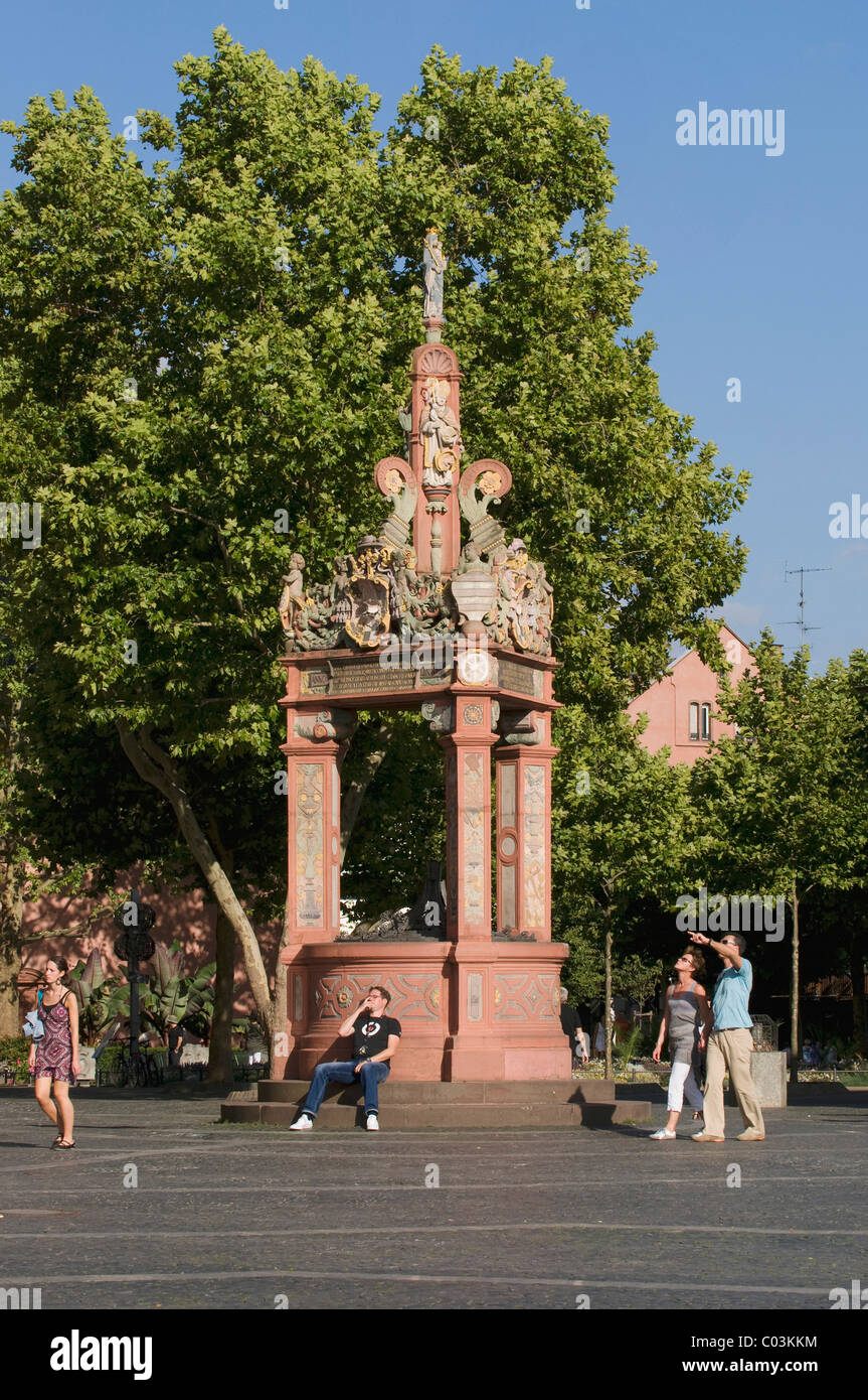 Market fountain made of coloured sandstone, historic town centre, Mainz, Rhineland-Palatinate, Germany, Europe - Stock Image