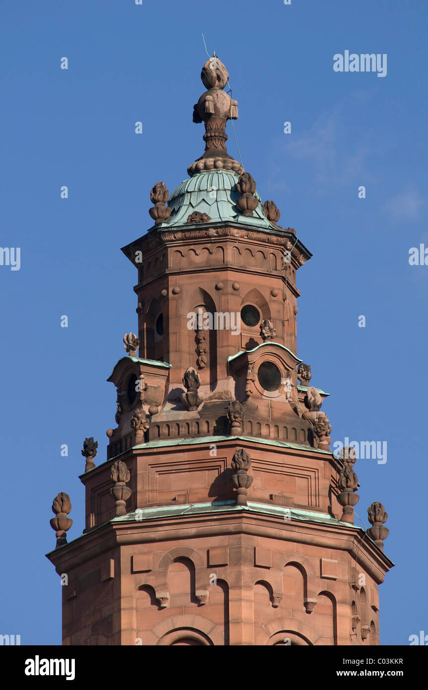 Top of a stair tower made of red sandstone, Mainz Cathedral of St. Martin, Mainz, Rhineland-Palatinate, Germany, - Stock Image