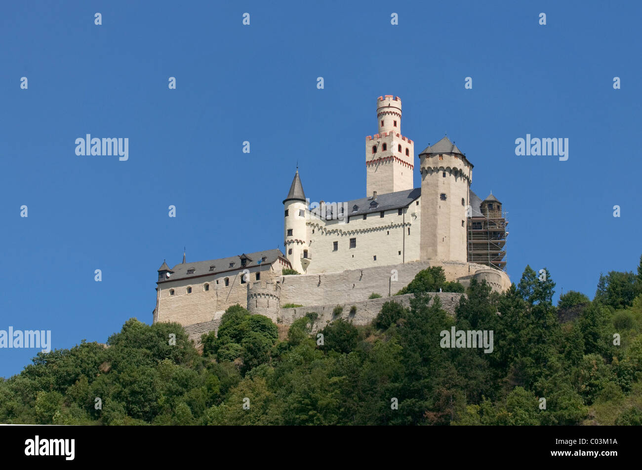 Markburg Castle, Hoehenburg Braubach, Braubach, UNESCO Upper Middle Rhine Valley World Heritage Site, Rhineland - Stock Image