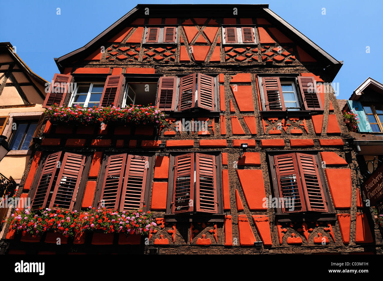 Old Alsatian half-timbered facade, 78 Grand'Rue, Ribeauvillé, Alsace, France, Europe - Stock Image