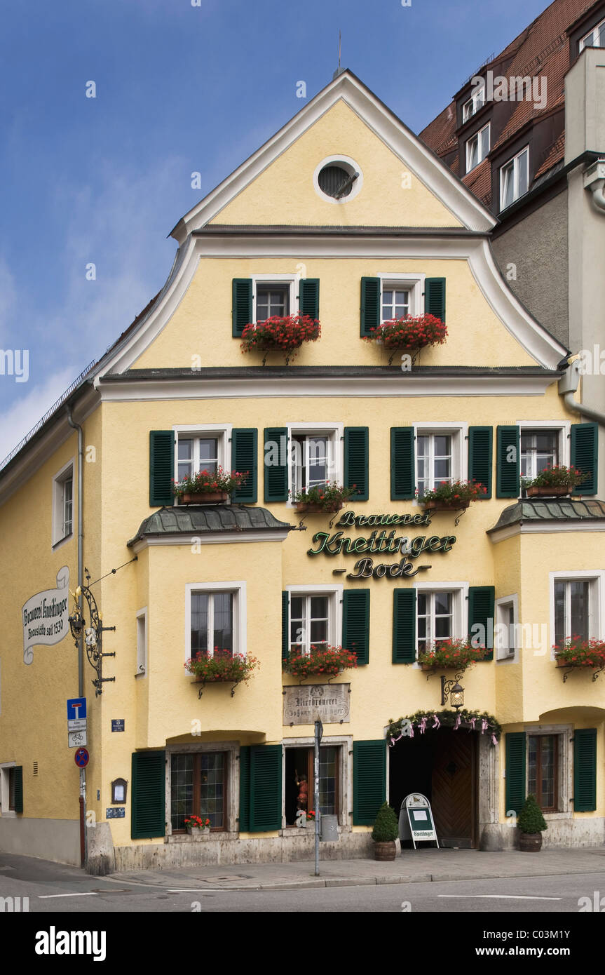 Kneitinger Brewery, parent company of the Knei at Arnulf place, since 1530, Regensburg, UNESCO World Heritage Site - Stock Image
