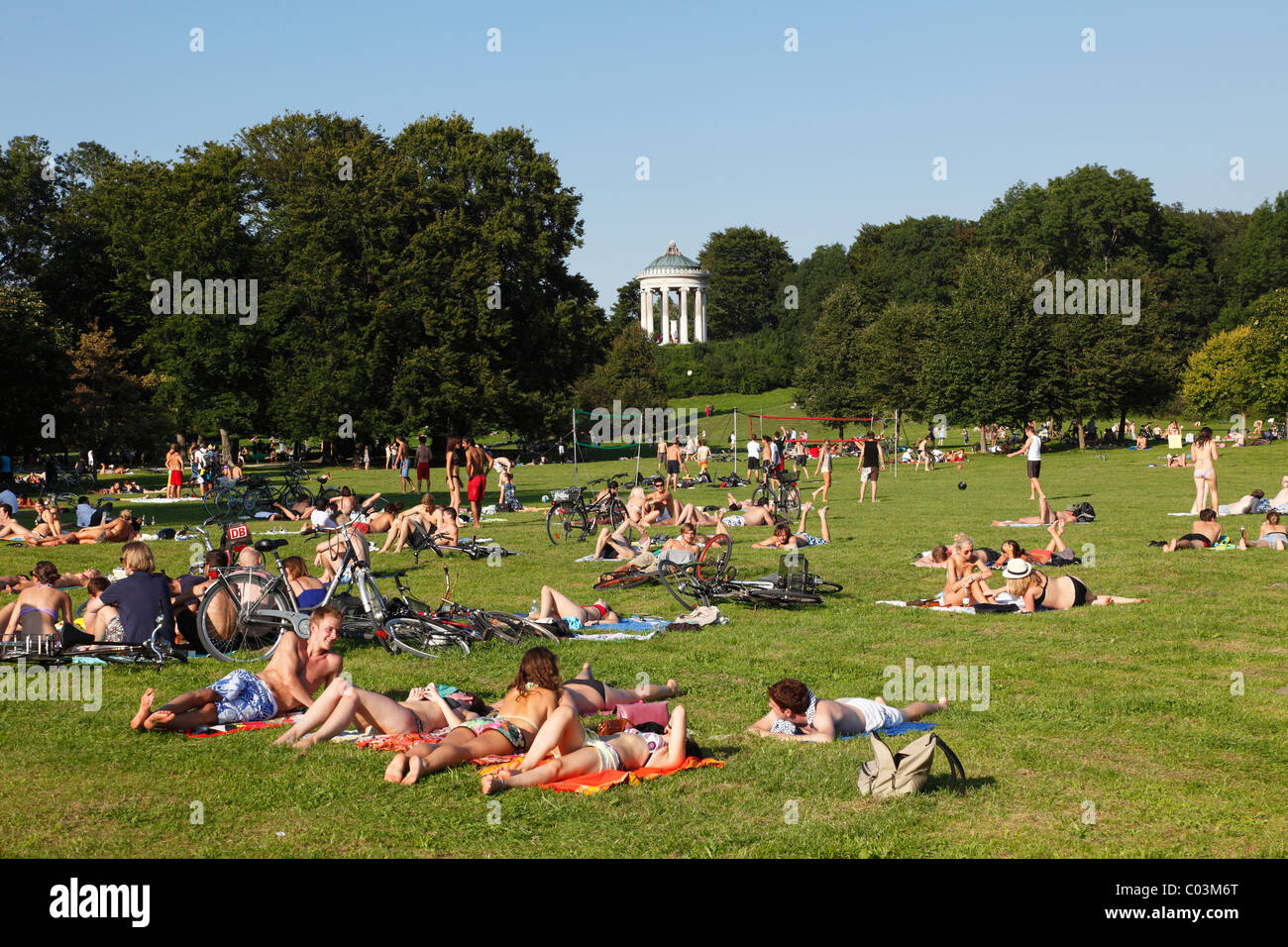 Englischer Garten park with Monopteros temple, Munich, Upper Bavaria, Bavaria, Germany - Stock Image