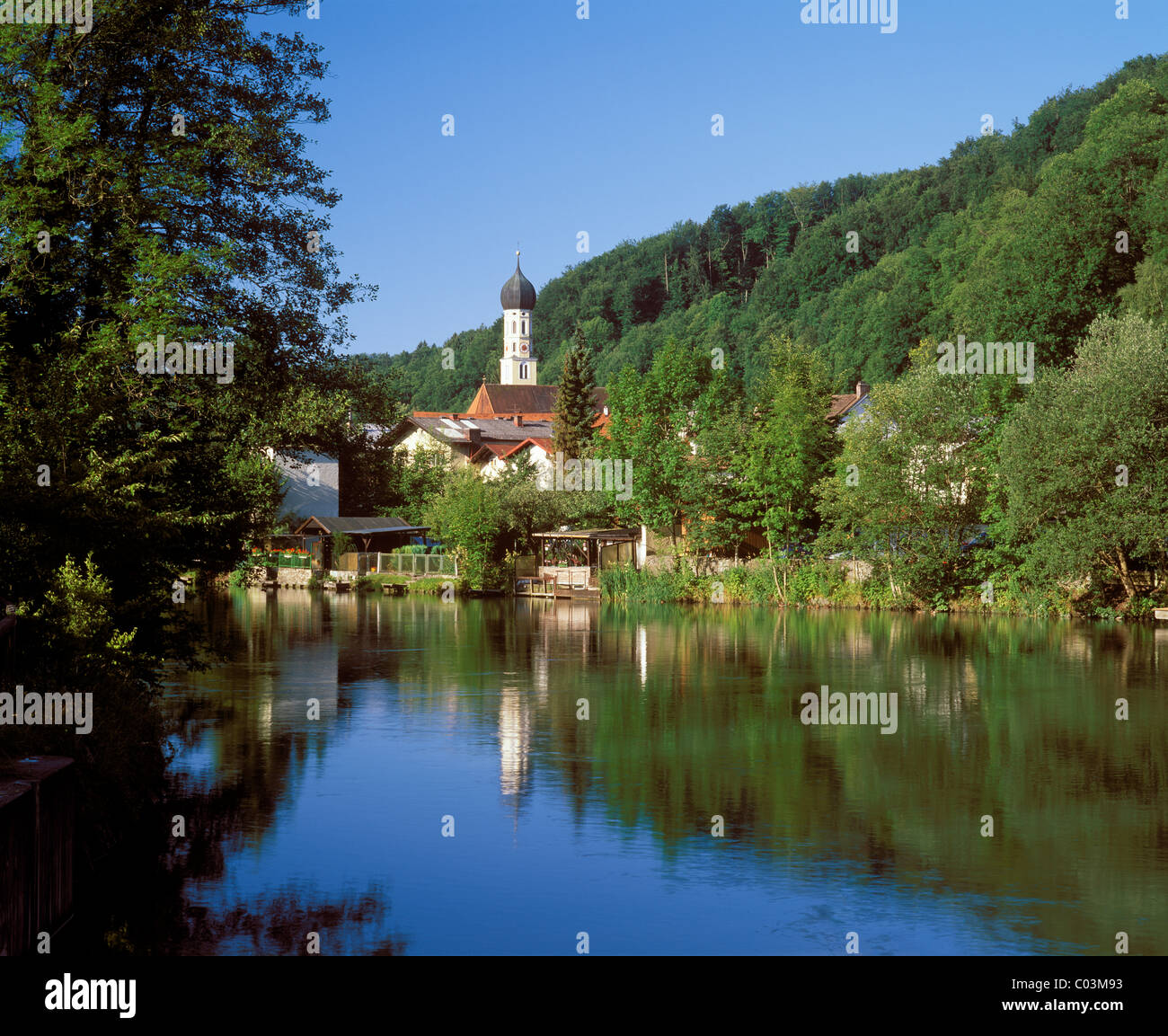 Wolfratshausen with the Loisach River, Upper Bavaria, Bavaria, Germany, Europe Stock Photo