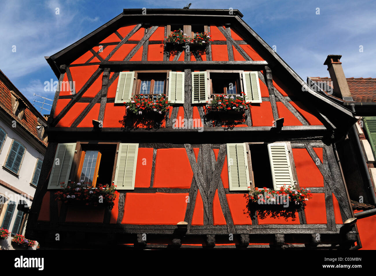 Old Alsatian half-timbered facade, 1 Rue de Juifs, Ribeauvillé, Alsace, France, Europe - Stock Image
