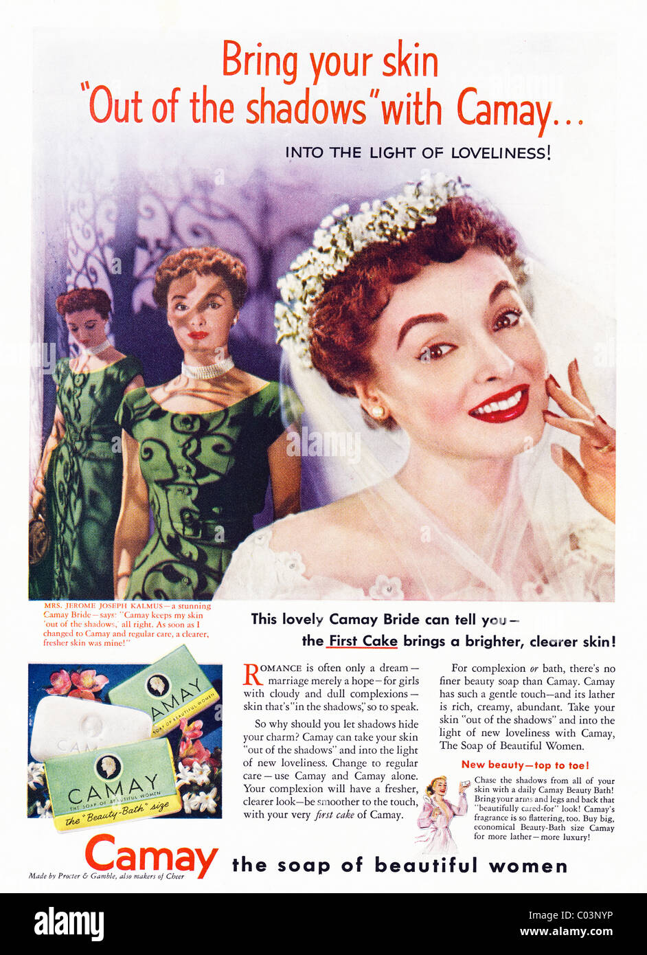 1950s full page advertisement in American consumer magazine for CAMAY soap - Stock Image