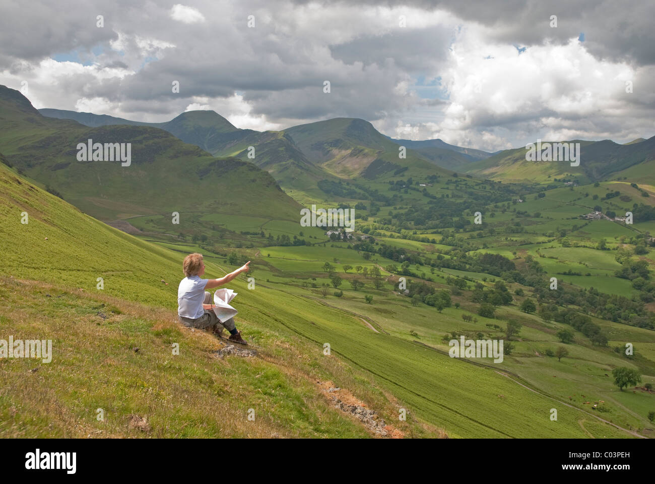 View of Newlands Valley and Derwent Fells from near top of Catbells near Keswick in the Lake District National Park, - Stock Image