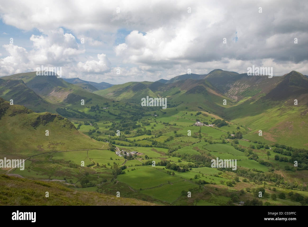 View of Newlands Valley, Little Town and Derwent Fells from near top of Catbells near Keswick, Lake District, Cumbria - Stock Image