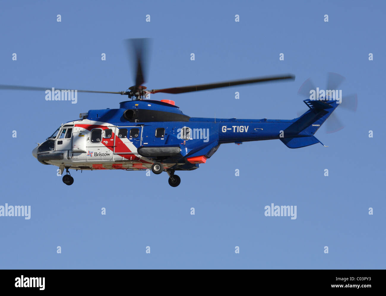 Eurocopter AS332 Super Puma helicopter operated by Bristow Helicopters - Stock Image