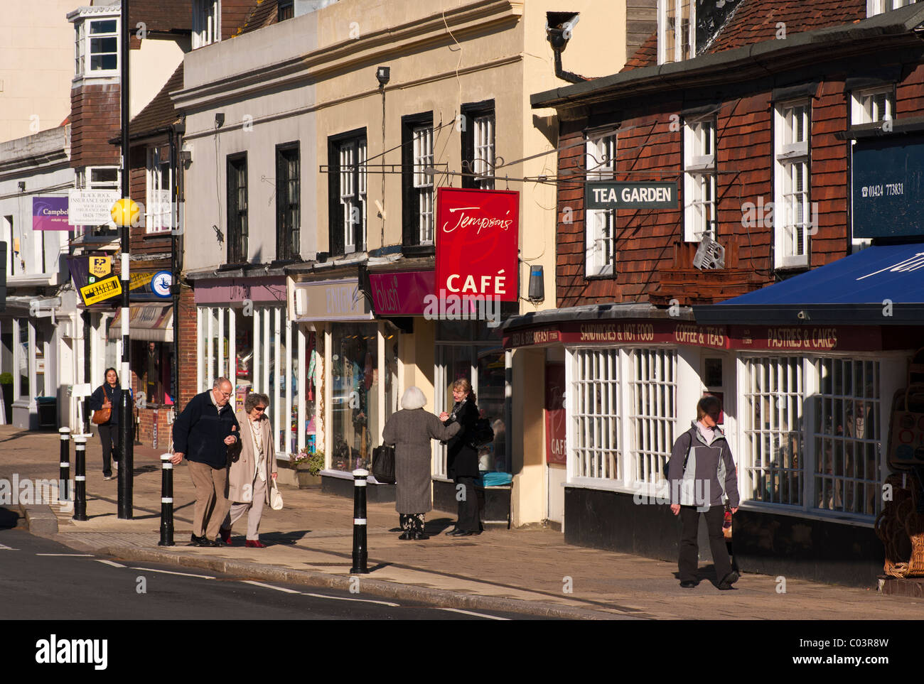Shops High Street Battle East Sussex England - Stock Image