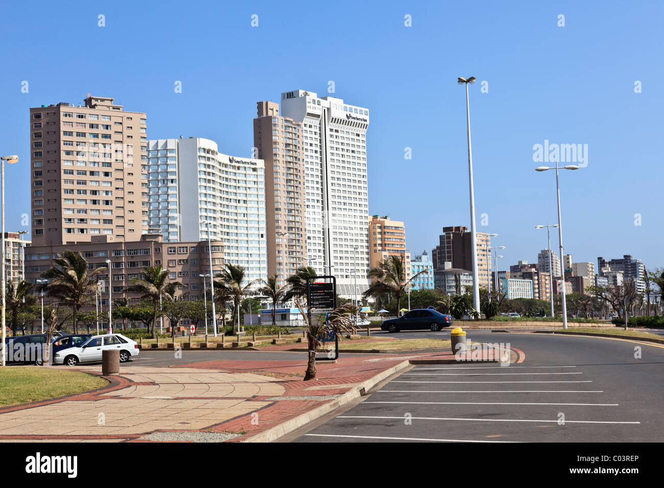 Hotels on Durban's golden mile a popular tourist destination in South Africa - Stock Image