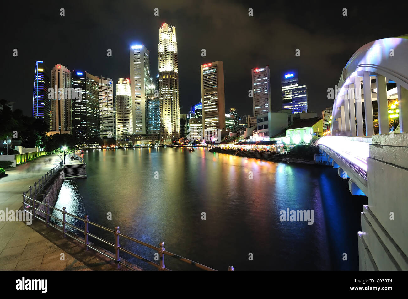 A view of the Singapore business district skyline from the Elgin Bridge. Stock Photo